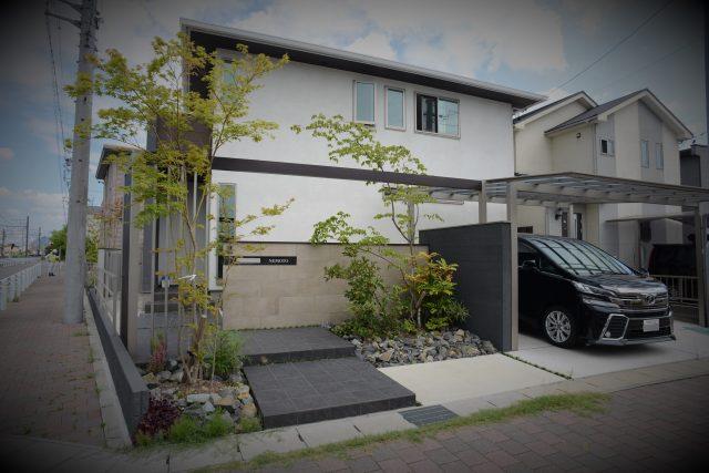 イタリアタイルと+Gアーチを使った雑草対策のあるモダン外構 清須市N様邸 LIXIL2017年施工コンテスト銅賞作品