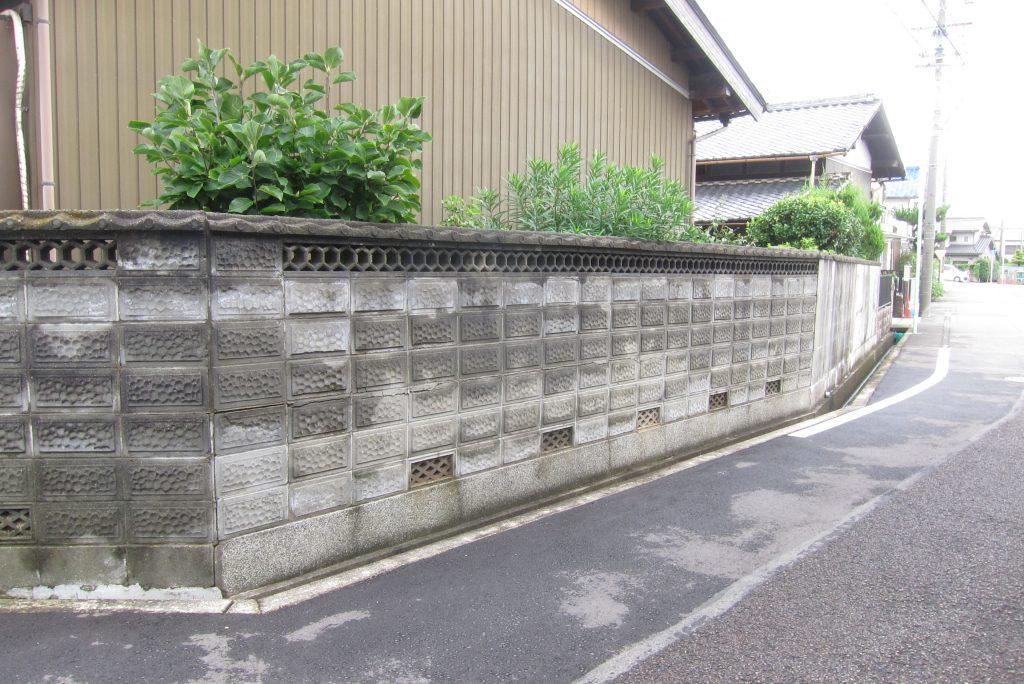 危険な古いブロック塀撤去 名古屋市