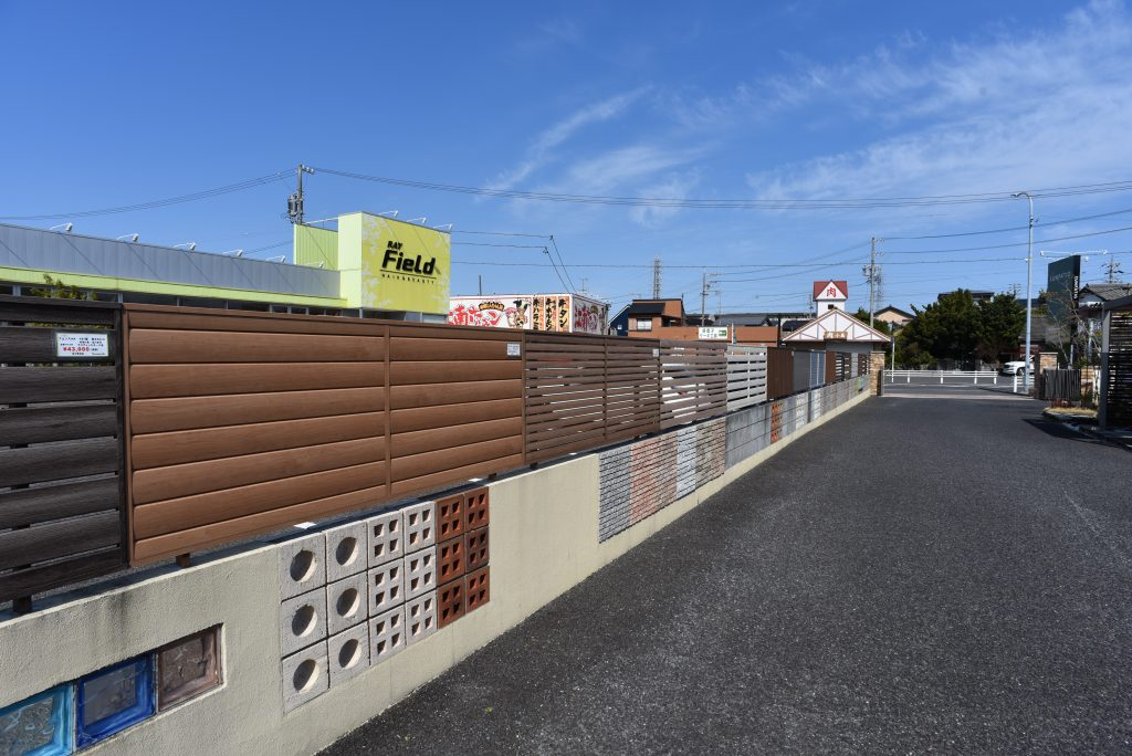 サンパティオ展示場 カーストップ 輪止め 新商品リクシルフェンス 目隠しフェンス